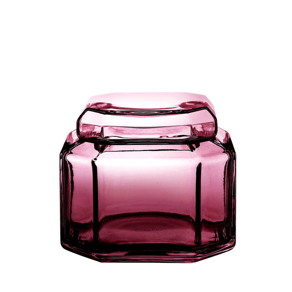 packshot of mouth blown glass container in the color amethyst.