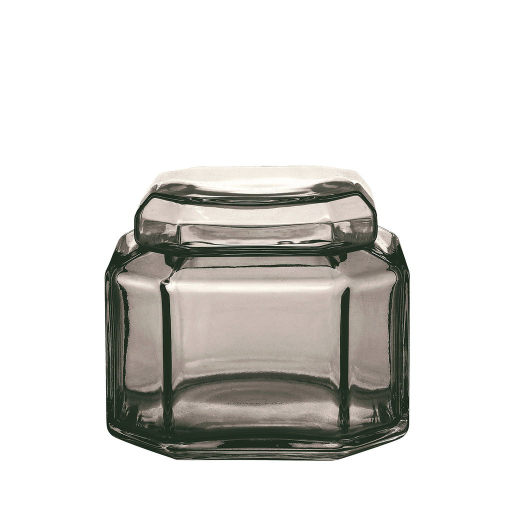 Packshot of mouth blown glass container in the color smoke.