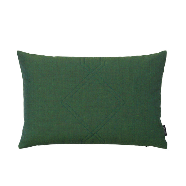 Cotton velvet cushion in remix green.