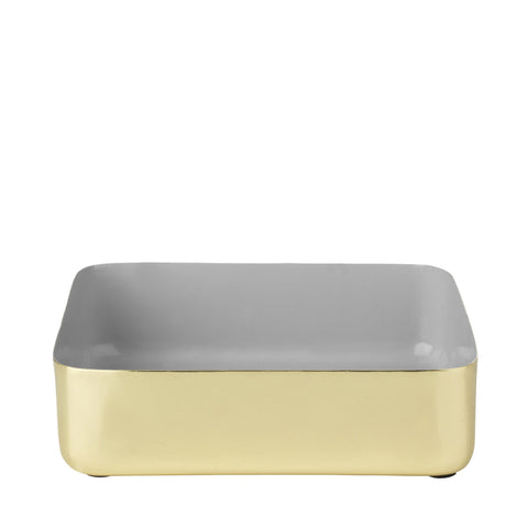 Metal tray in 100% brass with grey enamel.