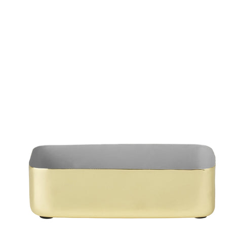 Metal tray 100% brass with grey enamel.
