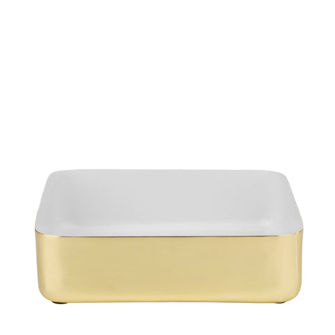 Metal tray in 100% Brass with white enamel.