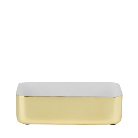 Metal Tray Brass/White Enamel
