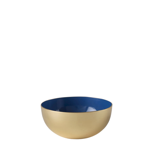 Metal bowl in 100% brass with blue enamel