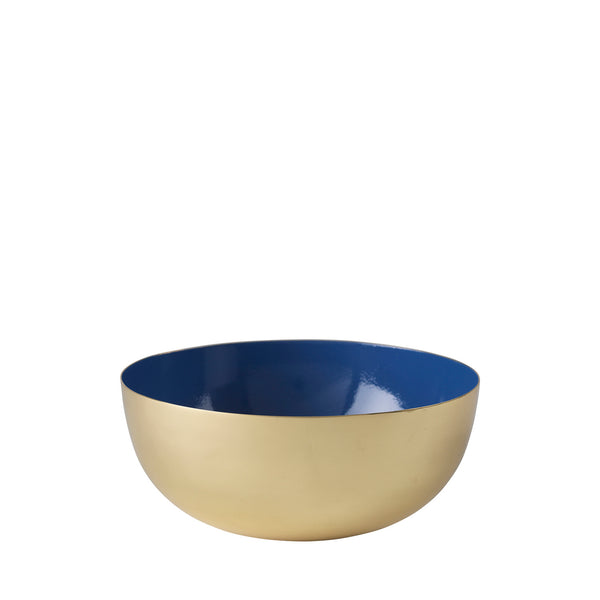 Metal bowl brass/blue enamel
