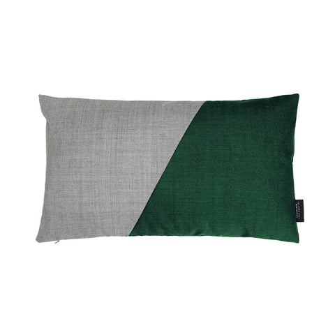 Little architect cushion with the color combination green and grey.