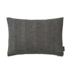 Rectangular knitted baby alpaca wool cushion in grey.