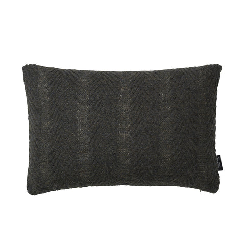 Rectangular knitted baby alpaca wool cushion in army green.