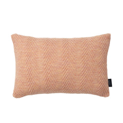 Rectangular knitted baby alpaca wool cushion in pearl rose.