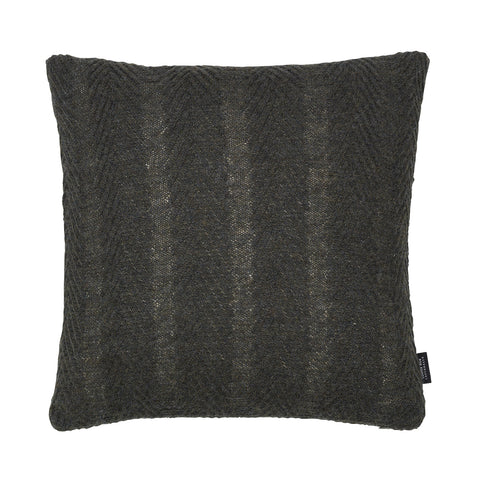 Square knitted baby alpaca wool cushion in army green.
