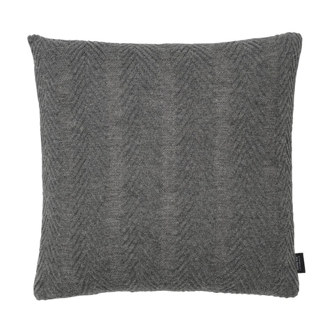 Square knitted baby alpaca wool cushion in grey.