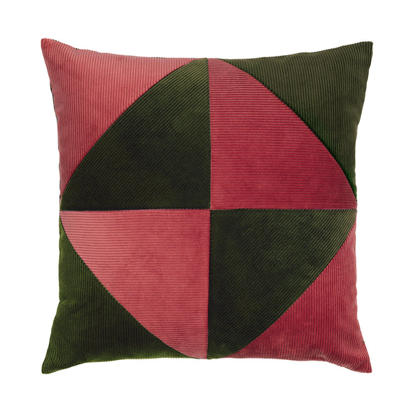 Pink and army cushion with simple graphical pattern.