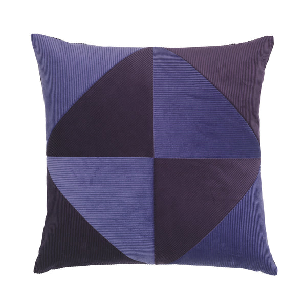 cushion in different shades of purple and triangle pattern.