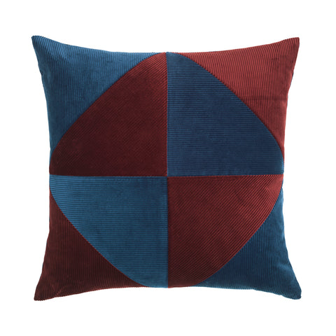 Bordeaux and blue cushion with simple graphical pattern.