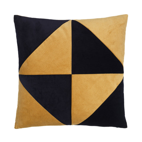beige and blue cushion in simple graphical pattern.