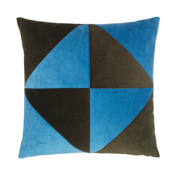 blue and army cushion with simple graphical pattern.