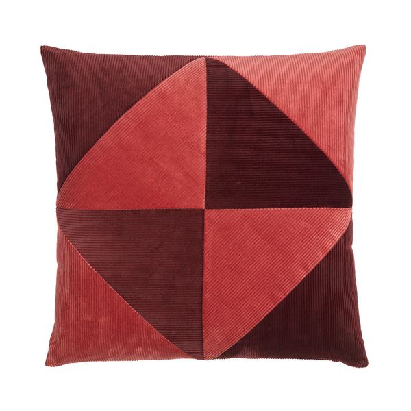 Pink and bordeaux cushion with simple graphical pattern.