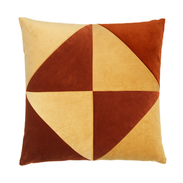 Rusty and beige cushion with graphical triangle pattern.