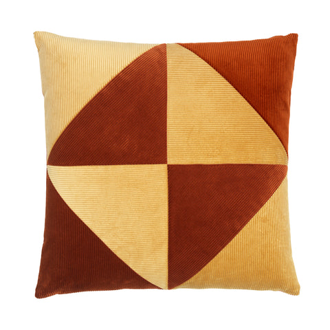 Corduroy Triangle Cushion Rusty/Beige