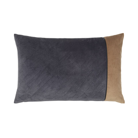 cushion in combined grey and taupe