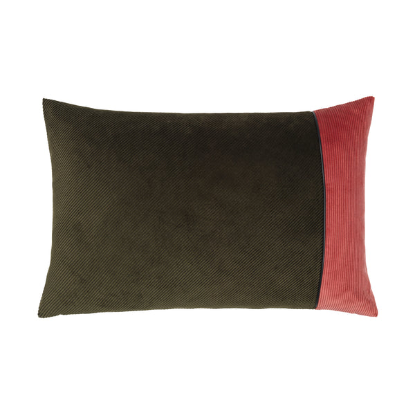 Corduroy Edge Cushion Army/Pink
