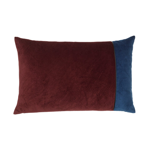 Corduroy Edge Cushion Bordeaux/Blue