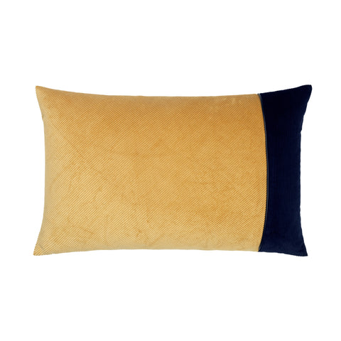 Corduroy Edge Cushion Beige/Blue