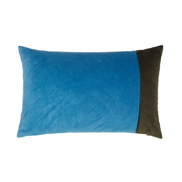 Corduroy Edge Cushion Light Blue/Army