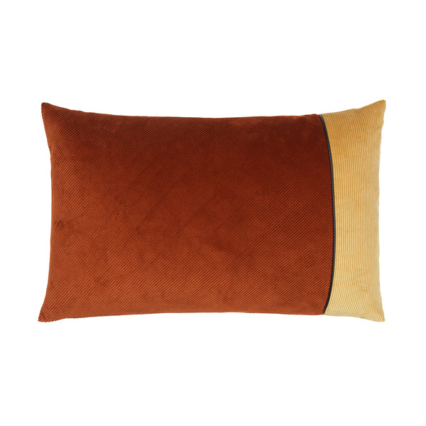 cushion in the color combination rusty and beige.