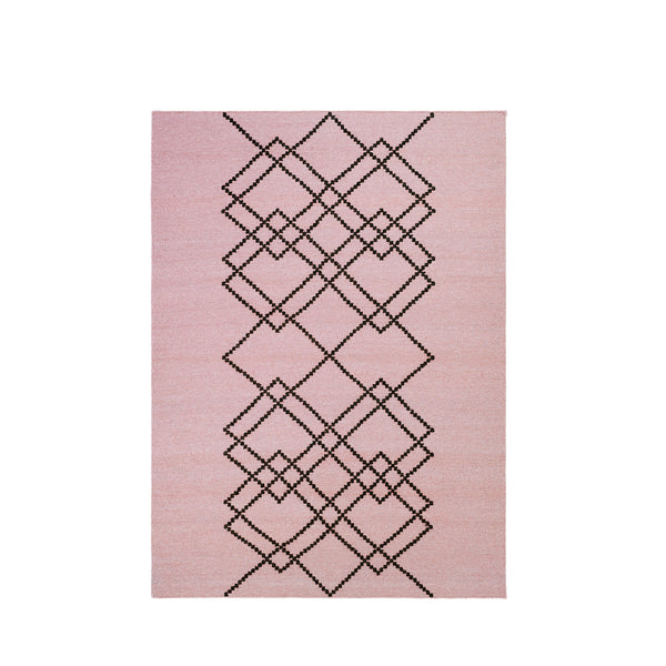Packshot of pearl rose handwoven BORG wool rug with graphic black lines.