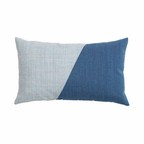 Little architect cushion with the color combination grey and blue.