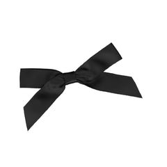 A black bow for gift wrapping.