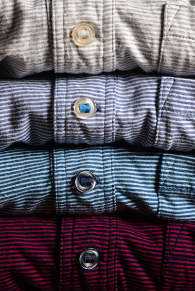 Slot-Button Stripe Polo