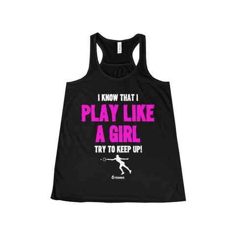 Play Like A Girl Flowy Tank - Black / Xs - Tank Top