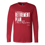 Retirement Plan Ls - Fitted Long Sleeve (Ls) Shirt / Red / S - Long Sleeve Shirts
