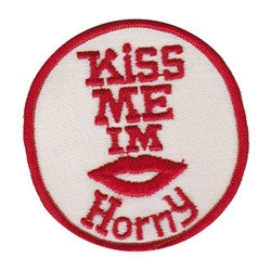 kiss me im horny patch image