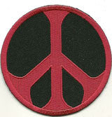 red black peace sign patch image