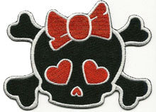 red skull bow patch image