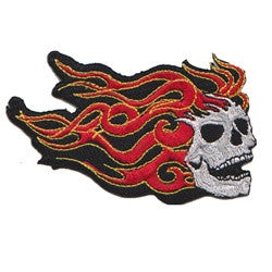 skull head flames patch image