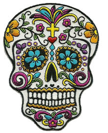 skull with flowers patch image