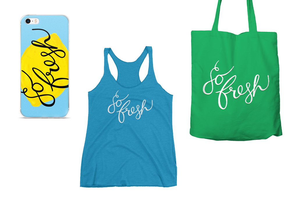 So Fresh Lettering Collection Tote Bag, iPhone Case and Tank
