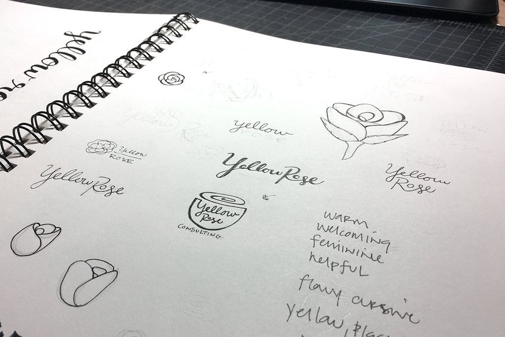 Yellow Rose Consulting Logo Design Hand Lettering Sketches