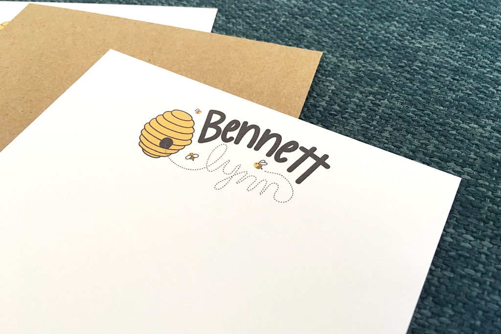 Custom Bee Stationery Design Note Cards top