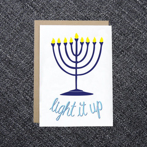 Light it Up Menorah Hanukkah Card