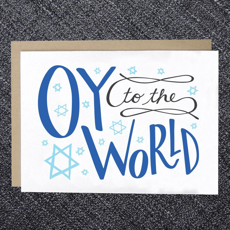Oy to the World Hanukkah Card
