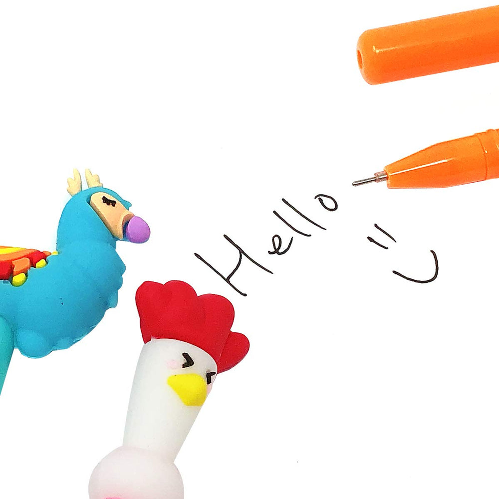 Roosters & Llamas Gel Pens (set of 12)