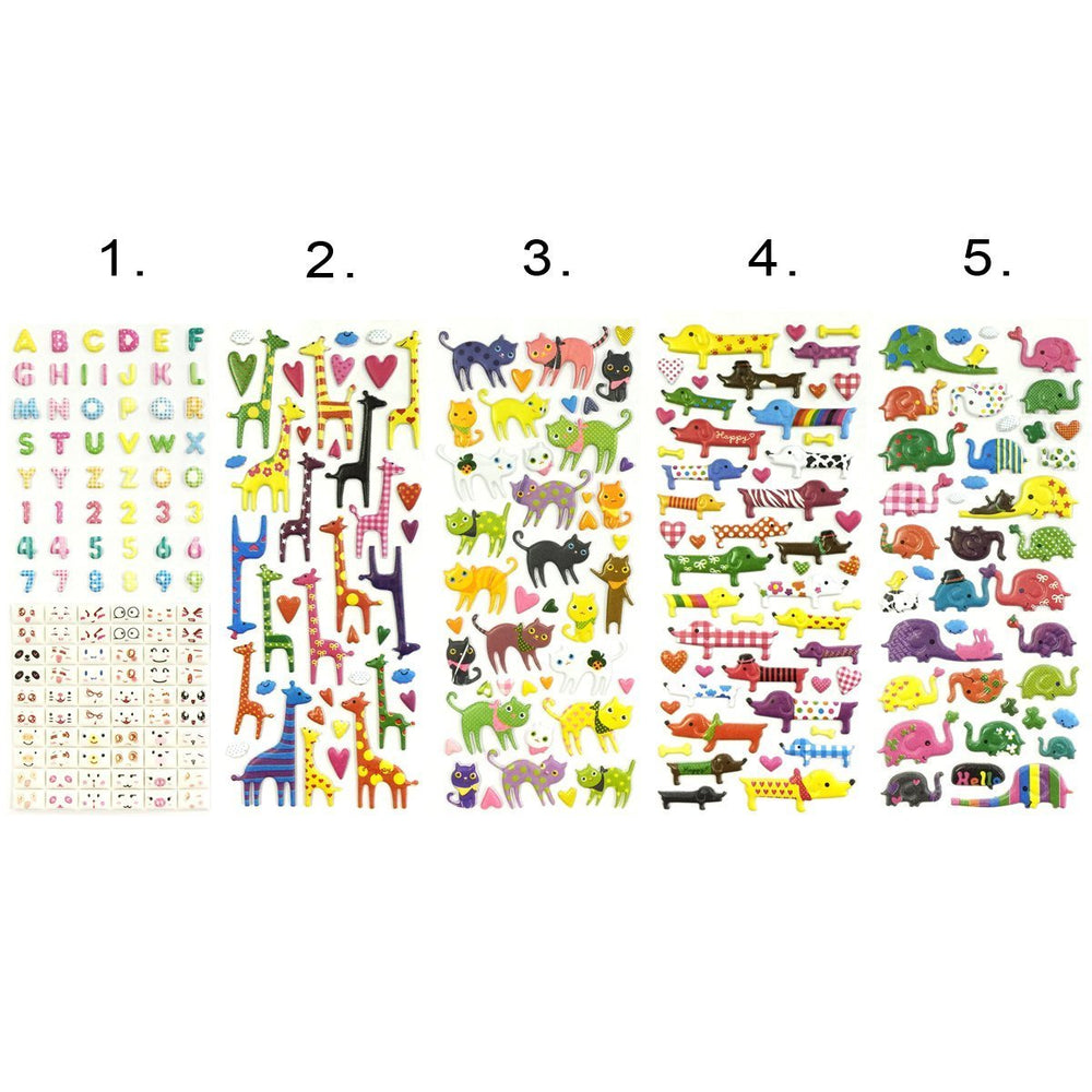 3D Puffy Adhesive Stickers Puffy Stickers for Crafts & Scrapbooking (5 Sheets) - Letters, Numbers, Elephants, Cats, Giraffes, Dogs
