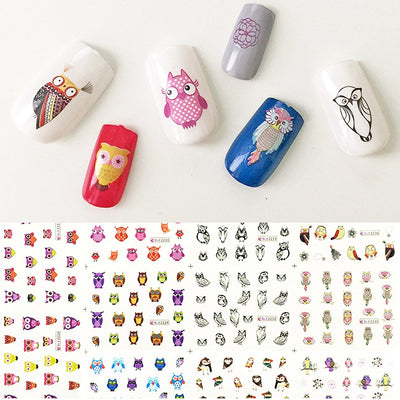 Owls Water Slide Nail Art Nail Decals (11 Designs/228 Nail Decals)