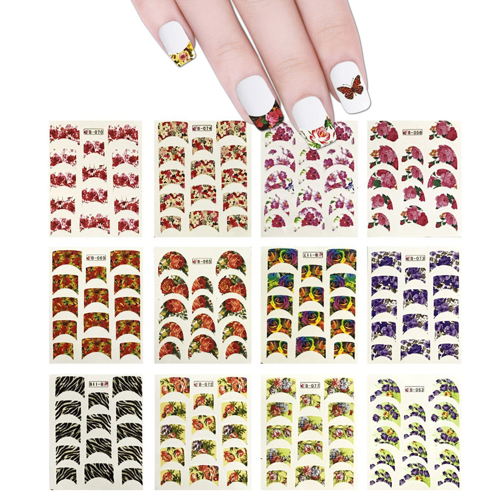 Flowers French Tip Water Slide Nail Art Decals 44 Sheets 600
