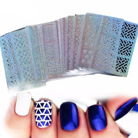 Holographic Nail Art Nail Stickers Bundle, 24 Designs